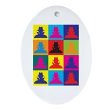 Spying Pop Art Oval Ornament