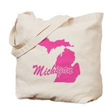 Pink Michigan Tote Bag
