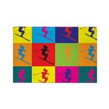 Skiing Pop Art Rectangle Magnet
