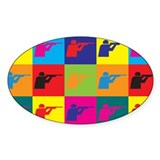 Shooting Pop Art Oval Decal