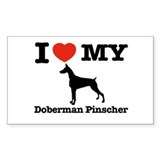 I love my Doberman Pinscher Rectangle Decal