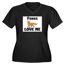 Foxes Love Me Women's Plus Size V-Neck Dark T-Shir