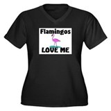 Flamingos Love Me Women's Plus Size V-Neck Dark T-