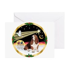 XmasDove/Basset Hound Greeting Cards (Pk of 20)