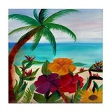 Tropical Beach Art Tile Coaster
