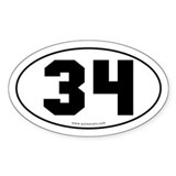 #34 Euro Bumper Oval Sticker -White