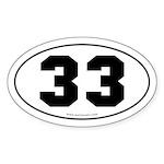 #33 Euro Bumper Oval Sticker -White