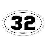 #32 Euro Bumper Oval Sticker -White
