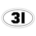 #31 Euro Bumper Oval Sticker -White
