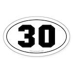 #30 Euro Bumper Oval Sticker -White
