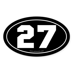 #27 Euro Bumper Oval Sticker -Black