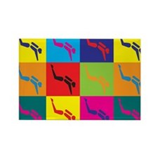 Scuba Diving Pop Art Rectangle Magnet (100 pack)