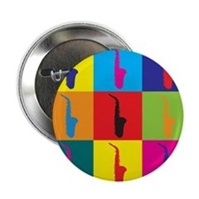 "Saxophone Pop Art 2.25"" Button (100 pack)"
