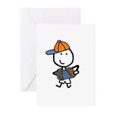 Boy & Accordion Greeting Cards (Pk of 10)