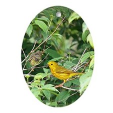 Yellow Warblers Oval Ornament