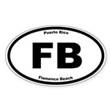 Flamenco Beach Oval Decal