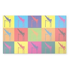 Pole Vaulting Pop Art Rectangle Decal