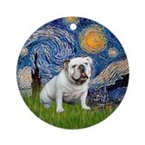 Starry Night English Bulldog Ornament (Round)
