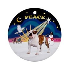 Xmas Sunrise - English Bulldog 5 Ornament (Round)