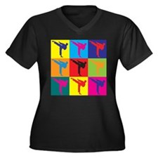 Martial Arts Pop Art Women's Plus Size V-Neck Dark