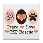 Peace Love GSP Rescue Tile Coaster
