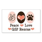 Peace Love GSP Rescue Rectangle Sticker
