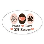 Peace Love GSP Rescue Oval Sticker
