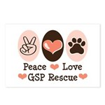 Peace Love GSP Rescue Postcards (Package of 8)