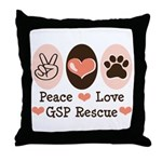 Peace Love GSP Rescue Throw Pillow