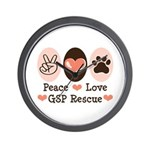 Peace Love GSP Rescue Wall Clock