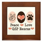 Peace Love GSP Rescue Framed Tile