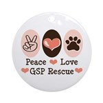 Peace Love GSP Rescue Ornament (Round)