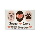 Peace Love GSP Rescue Rectangle Magnet (10 pack)