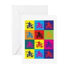 Hurdling Pop Art Greeting Card