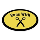 Runs With Scissors Oval Decal