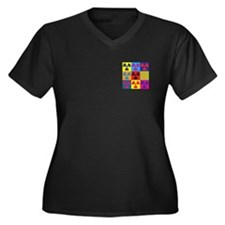 Hazmat Pop Art Women's Plus Size V-Neck Dark T-Shi