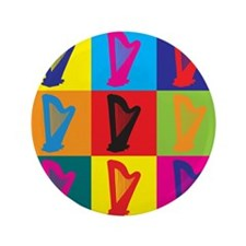 "Harp Pop Art 3.5"" Button (100 pack)"