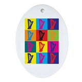 Harp Pop Art Oval Ornament