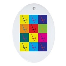 Gliding Pop Art Oval Ornament