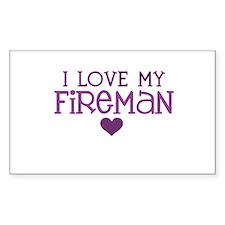 I love my fireman Rectangle Decal