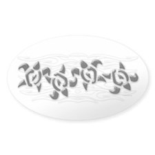 Sea turtle band Oval Stickers