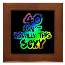 Rainbow 40th birthday Framed Tile