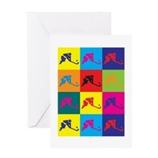Field Hockey Pop Art Greeting Card