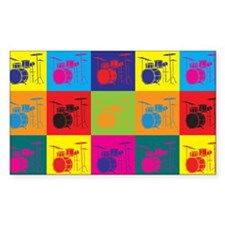 Drums Pop Art Rectangle Bumper Stickers