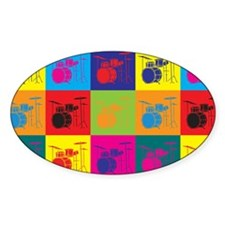 Drums Pop Art Oval Stickers