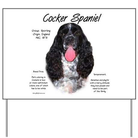Parti b&w Cocker Spaniel Yard Sign