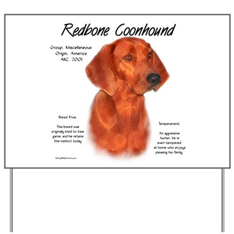 Redbone Coonhound Yard Sign