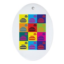 Curling Pop Art Oval Ornament