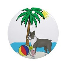 Beach Boston Terrier Ornament (Round)