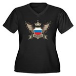 Russia Emblem Women's Plus Size V-Neck Dark T-Shir